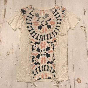 Free People T Shirt Sz S Boho Fringe Detail